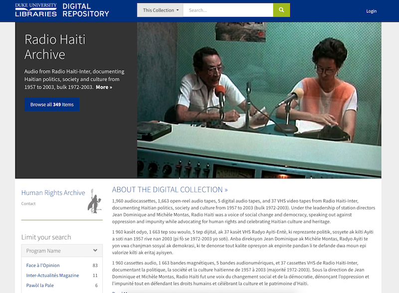 Radio Haiti Archive Home Page, Duke Digital Repository